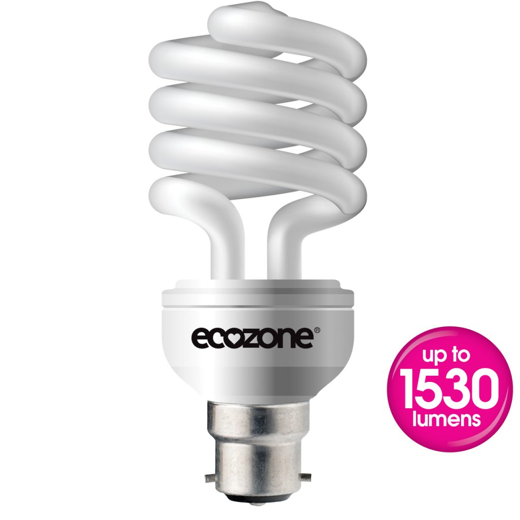 Ecozone B22 20 Watts CFL Biobulb out of pack