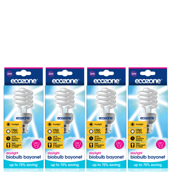 Ecozone B22 25 Watts Bundle CFL Biobulb